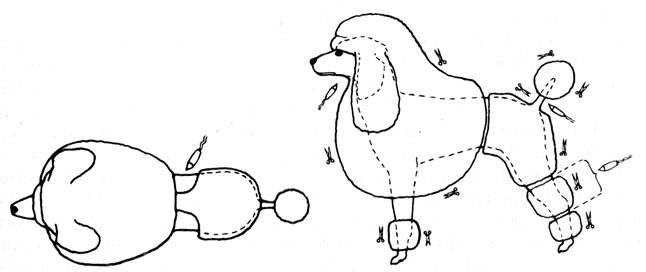 Рис. 24. Прическа 'Английский лев'. Показано направление стрижки ножницами и машинкой